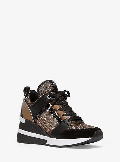 Georgie Chain-Mesh and Leather Trainer