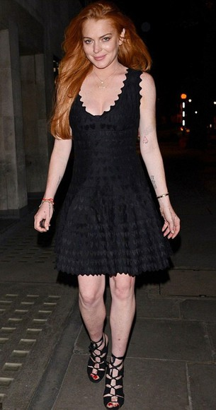 dress little black dress lindsay lohan sandals high heels clubwear azzedine alaia