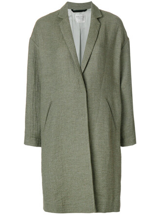 coat women cotton wool green