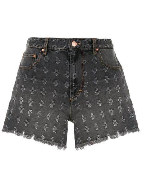 shorts denim shorts denim embroidered women floral cotton grey