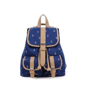 Amazon.com: New Fashion Girl Canvas Bag Messenger Bag Schoolbag Backpack Fresh Floral Pr (Dark blue): Sports & Outdoors