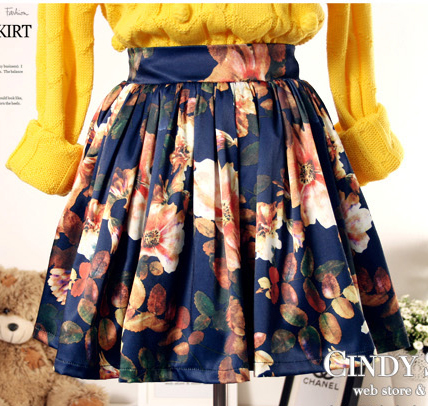 Navy Floral Pattern Ruffle Skirt - Sheinside.com