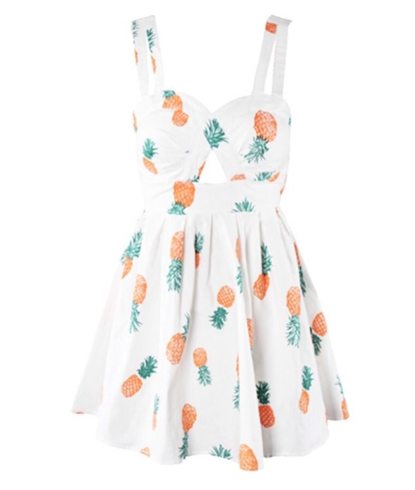 dress pineapple white flowy