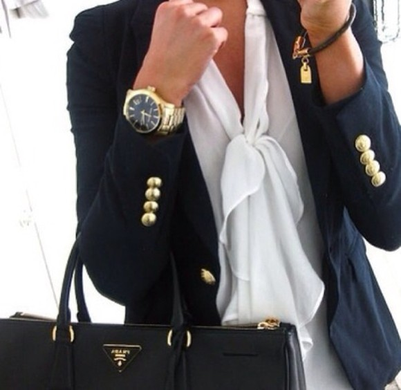jacket blazer navy gold