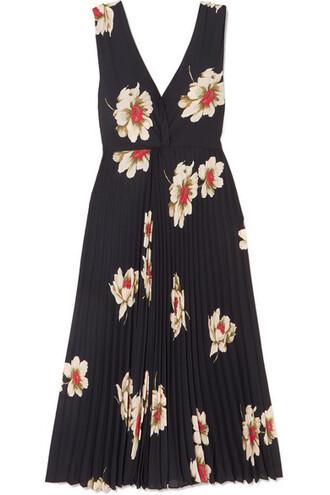 dress midi dress pleated midi floral navy print