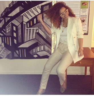 jacket white blazer white outfits crystal westbrooks