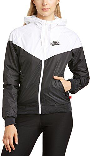 nike windrunner veste coupe vent pour femme large noir noir blanc. Black Bedroom Furniture Sets. Home Design Ideas