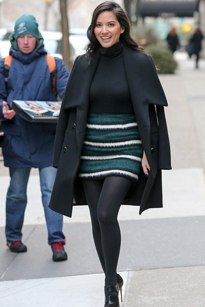 turtleneck olivia munn boots louboutin marc jacobs dkny striped skirt black turtleneck top black top tights opaque tights black coat winter outfits winter date night outfit mini skirt stripes