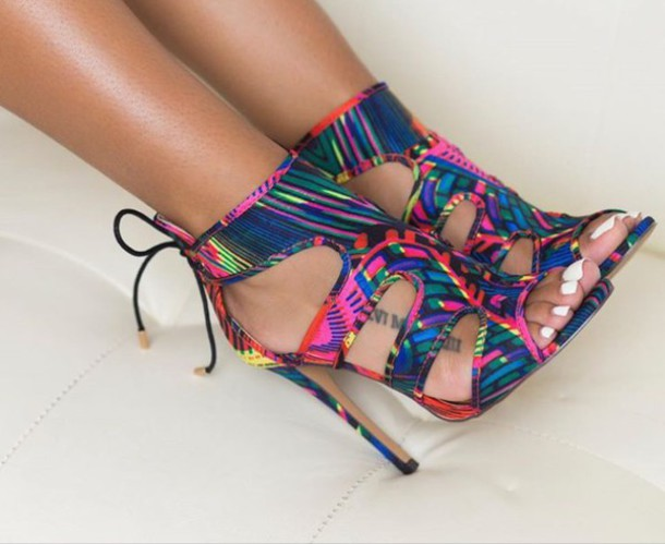 shoes high heel sandals multicolor