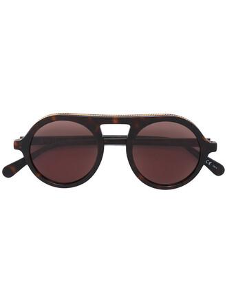 retro metal women sunglasses brown