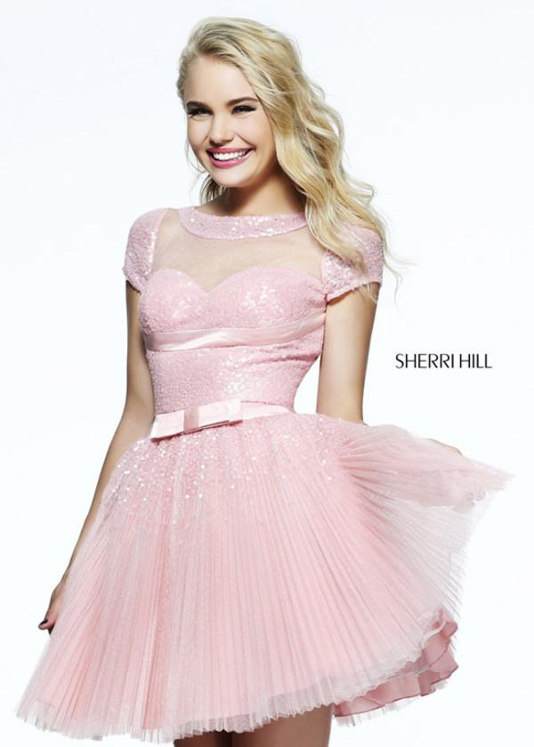 dress pleated skirt short prom dress pink dress