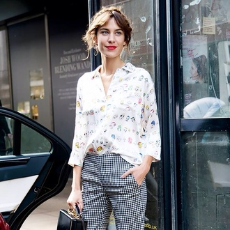 gingham checkered pants black and white pant trouser alexa chung hipster indie vintage indie outfit houndstooth jeans