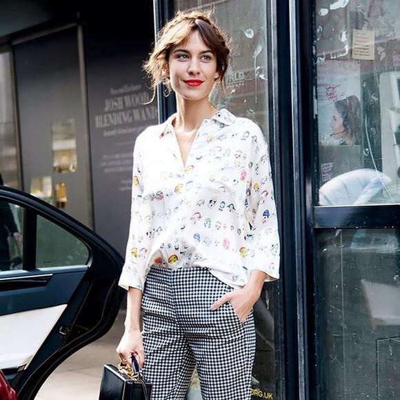 alexa chung gingham pants checkered pants black and white pant trouser hipster indie vintage indie outfit houndstooth jeans
