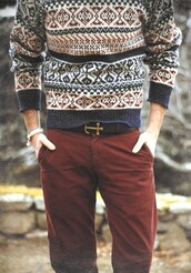 belt,sweater,chinos,11,winter outfits,winter sweater,menswear,brown,anchor,hipster menswear,pants,aztec,print,tribal pattern,indie,wool,warm,hipster