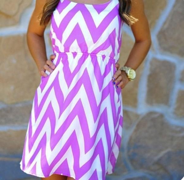 dress fluo neon purple dress white zig zag summer dress