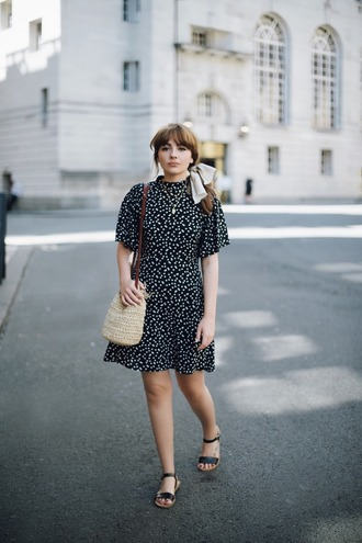 dress tumblr mini dress polka dots short sleeve dress sandals flat sandals black sandals bag woven bag