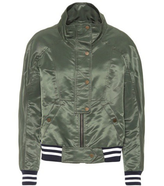 Veronica Beard jacket bomber jacket green