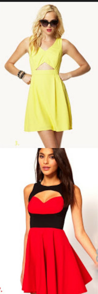 dress black cut-out yellow red