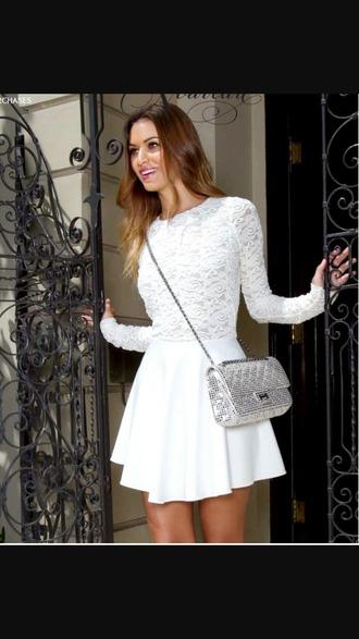dress white white dress lace dress lace mini dress cute