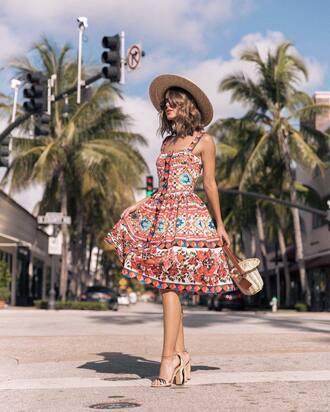 dress hat tumblr midi dress printed dress pattern patterned dress sandals sandal heels high heel sandals sun hat shoes