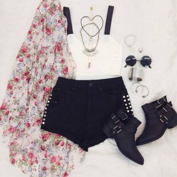 cardigan kimono rose blouse bustier bracelets bracelets ring ring jewels jewelry sunglasses pants shorts shoes sandales high heels hippie skirt colorful coat summer shoes summer outfits outfit idea boho party outfits school look