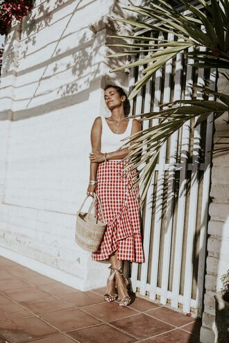 top tumblr white top white crop tops crop tops skirt midi skirt gingham red skirt ruffle sandals sandal heels high heel sandals bag woven bag asymetrical skirt gingham skirt wrap ruffle skirt