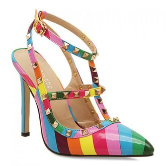 shoes heel rainbow valentino spikes cool colorful cute shoe porn high heels stilettos lgbt