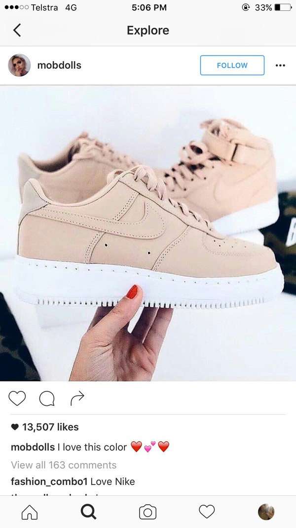 shoes, nike air force 1, pink sneakers, low top sneakers, nike, nude sneakers, beige, nike air force 1, pink, pink air force one, rose, rose pastel, air ...
