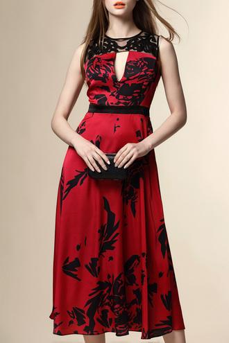 dress dezzal red dress black style fashion paris formal dress