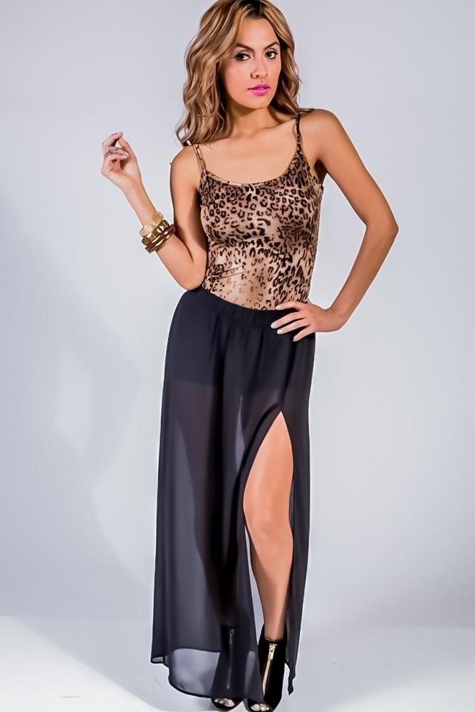 Maxi high slit skirt