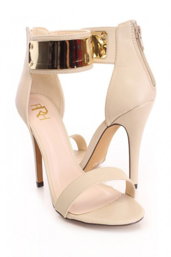 Nude High Polish Single Sole Heels Faux Leather / Sexy Clubwear ...