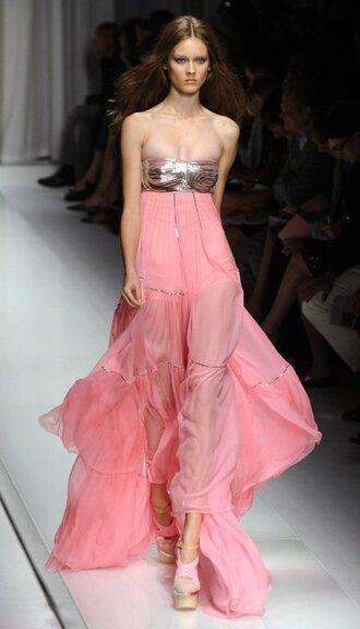 dress pink dress long silver