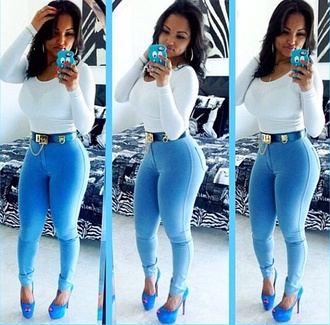 pants jeggings high waisted dope thick blue clothes shoes shirt belt jeans baddies fashion accessories style outfit blouse