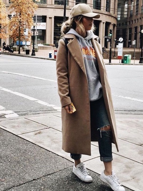 coat trendy winter outfits tumblr beige cap grey hoodie brown coat ripped  jeans white sneakers blogger. b48db66d9291e