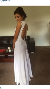 dress,deb dress,deb,gown,wedding dress,wedding,formal,backless prom dress,white prom dress,debutante,white dress,formal dress,white,lace,backless,chain,formal event