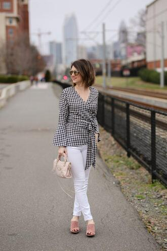 polishedclosets blogger shoes jeans bag gingham top mules white pants spring outfits
