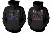 his and hers gifts,his and hers hoodies,his and hers sweatshirts,mr and mrs,wedding gifts,newlyweds gifts,mr and mrs hoodies,couple,matching couples,matching couple sweatshirts,matching couple hoodies,i stole her heart so i'm stealing his last name