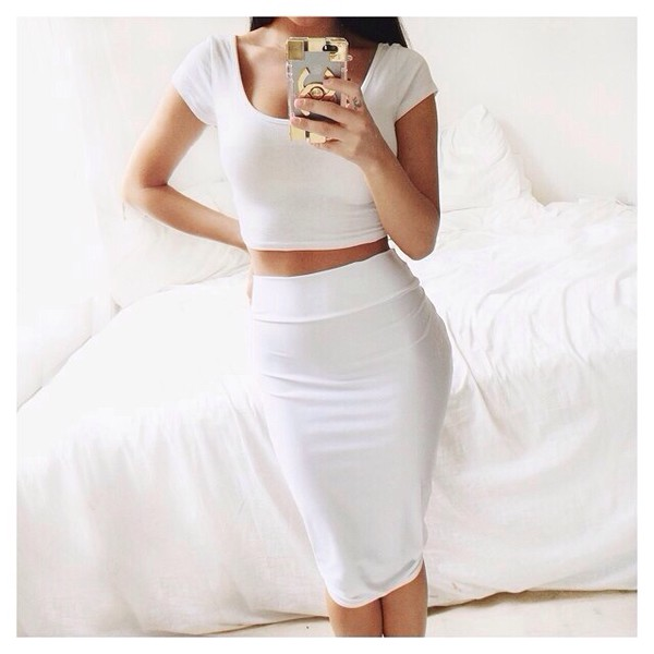 White Satin Pencil Skirt 5