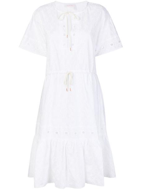 See by Chloe dress midi dress open women midi white cotton