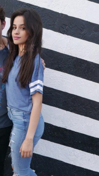 shirt camila cabello fifth harmony blue crop tops blue shirt t-shirt