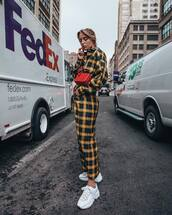 shoes,sneakers,white sneakers,checkered,jumpsuit,long sleeves,crossbody bag