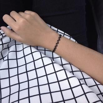 shirt bkack&white checkered grid line top mens shirt women t shirts