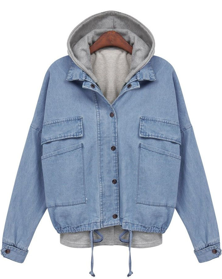 Denim Hoodie Bomber Jacket – Outfit Made