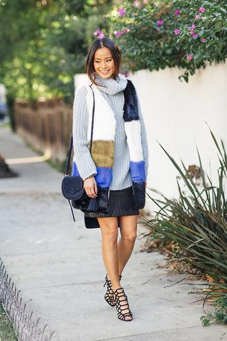 coat fur fur coat fur vest vest jamie chung sandals sweater turtleneck skirt fall outfits purse blogger shoes printed fur vest