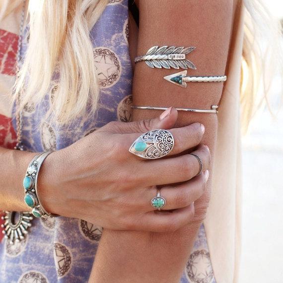 Arm cuff, upper arm bracelet, turquoise or coconut armlet, sterling arrow, body jewelry, gypsy bracelet, wanderlust jewelry