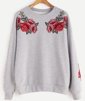 sweater,grey,grey sweater,embroidered