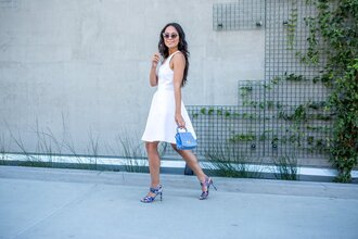 dress office outfits summer outfits summer dress white dress midi dress sandals blue sandals bag blue bag sunglasses printed sandals
