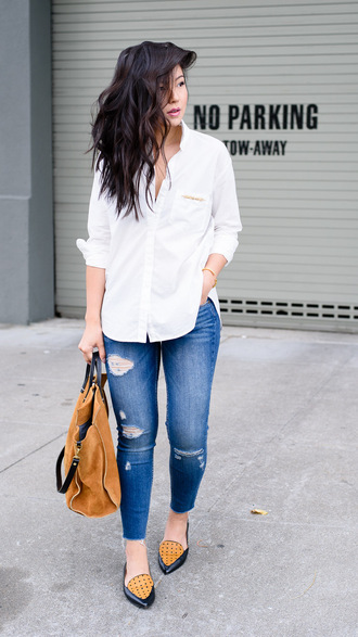 the fancy pants report blogger shirt bag jeans jewels