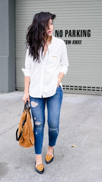 the fancy pants report blogger shirt bag jeans jewels