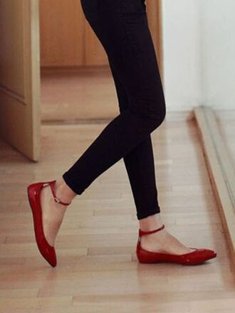 shoes red flats ballerina